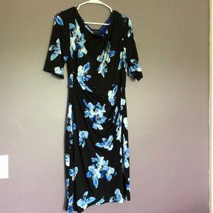 Black and blue flowered dress
